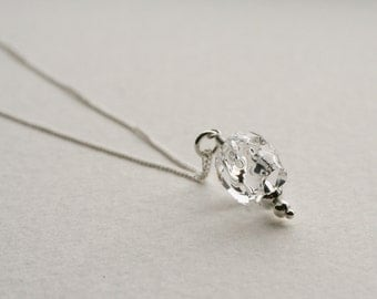 Crystal Skull Charm Necklace Sterling Silver Chain