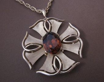 Trifari Rhinestone Cross Pendant Necklace