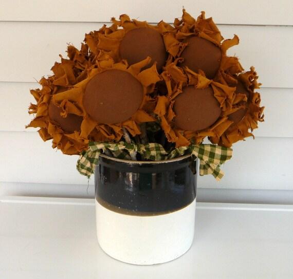 Primitive Sunflower crock fillers Prim flower set of 6