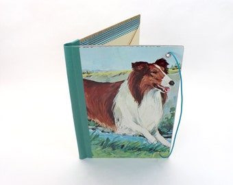 Refillable Journal Cover, Collie, Vintage Children's Book Cover