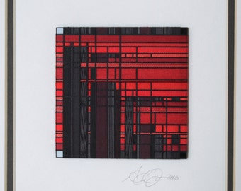 Framed Thread Wrapping with Red and Charcoal Gray in a Flat Black style Frame with Double Matte in an Abstract Pattern
