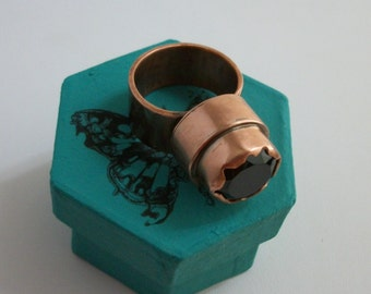 Unique design copper ring with natural faceted black spinel, size 7.5 US - copper jewelry - copper ring - gemstone ring