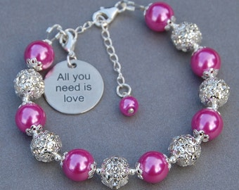 All you need is Love Bracelet, Gift for Bride, Romantic Gift, Quote Jewelry, Gift for Her, Romantic Wedding, Words of Love, Under 50