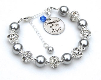 Grandma of an Angel, Personalised Memorial Bracelet, Baby Loss, Grief Gift, Bereavement Gift , Miscarriage Jewelry, Sympathy Gift