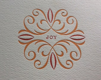 Joy - Letterpress holiday card in orange and red