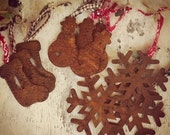 READY TO SHIP Rustic Punched Tin Christmas Ornaments Rusty Snowflake Snowman Stocking