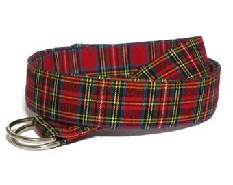 "Mens Red Belt / Preppy D-ring Belt/ Red Plaid Belt for Men and Boys/ Tartan Plaid Christmas Belt/ Preppy Man Pant Waist 28"" - 39"" Mens Gifts"
