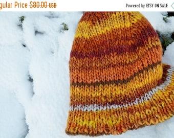 October Sale Bright Hand Knit Wool Bonnet Hat - Bohemian Double Knit Bulky Knit Hat - True Double Knit in Wool, Handspun Wool Blend, Alpaca