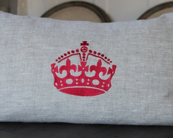 Linen Pillow with Large Crown Embroidery