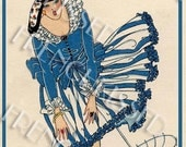 Windblown Beauty in Blue with Umbrella Art Deco 1920s Fashion by Scorzon Vintage Postcard Instant Download