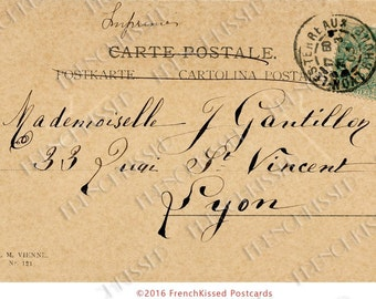 French Script Calligraphy Lyon France 1903 Postcard Digital Printable