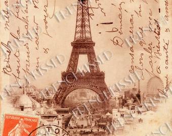 Eiffel Tower French Script Antique 1902 Paris Souvenir Postcard Orange Postage Stamp Digital Download