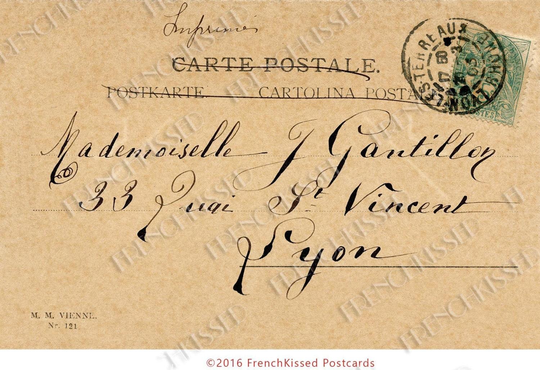 French Script Calligraphy Lyon France 1903 Postcard Digital