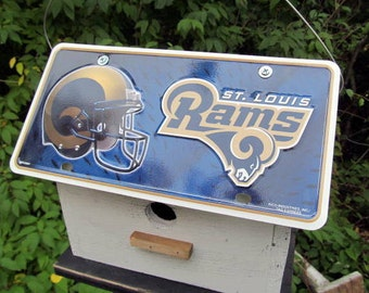 St. Louis Rams Football License Plate Birdhouse Fully Functional NFL