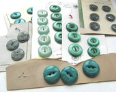 Vintage Carded Buttons Greys and Greens Destash Lot #7