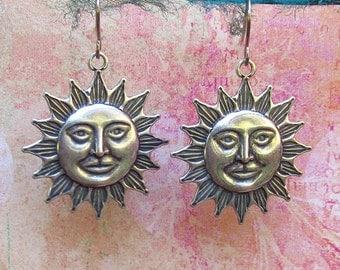 Leo earrings Silver sun earrings Astrology jewelry