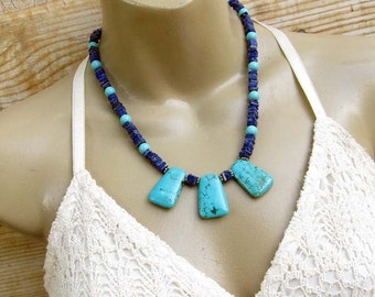 Turquoise necklace, Lapis Statement necklace Bohemian jewelry