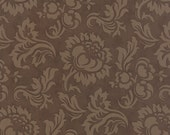 Mille Couleurs Floral Damask Walnut Brown with Flowers Roses and Birds Designer Quilting Sewing Fabric 3 Sisters for Moda - 1/2 Yard
