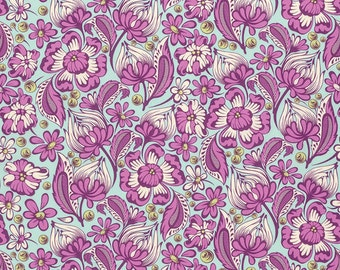 Chipper - Half Yard - Tula Pink Fabric Raspberry Wild Vines Pinks Teals Floral Quilt Fabric Free Spirit Fabrics Quilting Fabric PWTP079RASPB