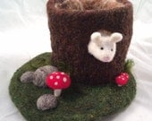 Tree Stump Needle Felted Play Mat and Mouse- Ready to Ship!