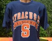 vintage 80s t-shirt SYRACUSE university orangemen orange tee Large Medium logo 7