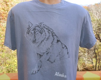 80s vintage t-shirt ALASKA wolf husky dog animal nature tee Large gray 90s