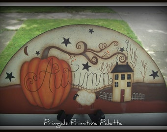 Primitive Pumpkin Saltbox House Sheep Fall Autumn Door Crown Hand Painted Home Decor