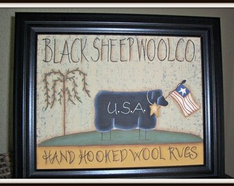 Primitive Black Sheep 8x10 Framed Canvas Home Decor Picture