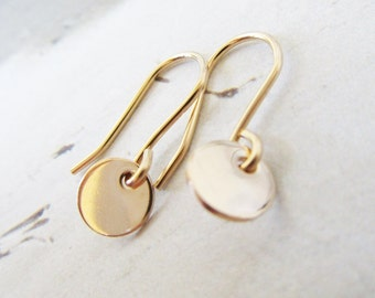 Tiny 14k gold filled disc earrings, 6 mm disc