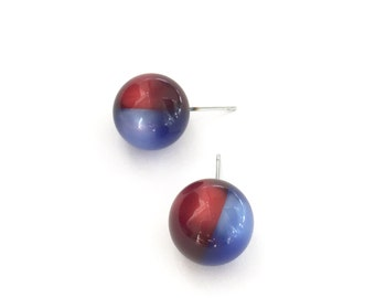 Blue and Red Studs | Harlequin Moonglow Stud Earrings | Cobalt Blue and Ruby Red Moonglow | 2-Tone Lucite Stud Earrings - #PST-8RB