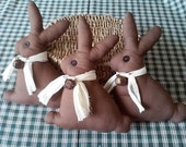 "Easter Chocolate Primitive Bunnies  8 1/2"" Tall  Set of 3"