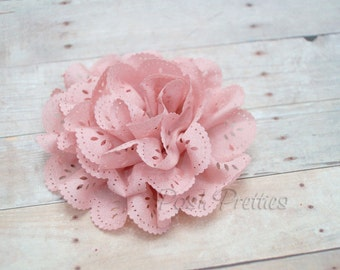 Dusty Rose Eyelet Lace Flower Hair Clip - Lace Flower -