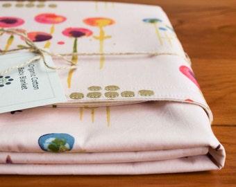 Pink Baby Blanket; Modern Floral Receiving Blanket; Baby Girl Shower Gift; Organic Blanket; New Baby Gear; Organic Cotton Necessities; POEM