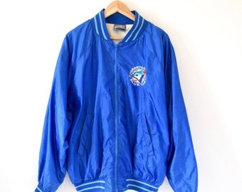 SUMMER SALE / 20% off Vintage 70s 80s Royal Blue Toronto Blue Jays Zip Up Bomber Jacket