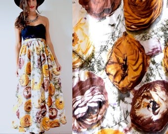 Vintage 60s 70s High Waisted Ochre and Brown Floral Print Maxi Skirt (size xs, small)