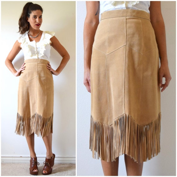 Vintage 80s 90s Pioneer Wear Tan Suede Leather Fringe High Waisted Pencil Skirt (size small, medium)