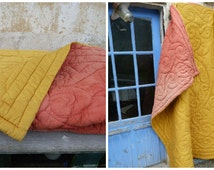 "Vintage Antique 1900 French quilt boutis eiderdown bedspread bicolore red/yellow 80"" x 72"""