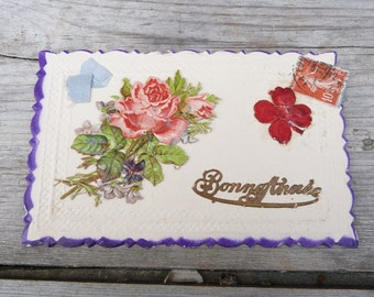 Antique 1900s  French embossed and die cut Bonne Annee postcard   Bouquet/real soft blue ribbon