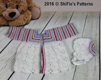CROCHET PATTERN For Rainbow Baby Matinee Jacket, Hat PDF 343 Digital Download