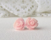 Blush pink rose stud earrings / resin rose / surgical steel studs / girlfriend gift / bridesmaid / gift for her / hypoallergenic earrings