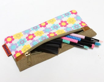 Floral Pencil Pouch, Zipper Pouch, Cosmetic Bag, Sunglasses Case, Travel Pouch, Makeup bag handmade by EllaOsix