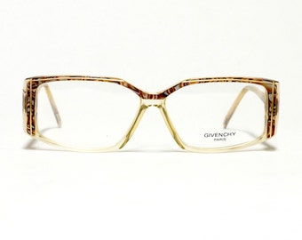 80s Givenchy Vintage glasses Frame | French Designer Glasses | Deadstock Vintage Eyewear | rectangular shape | Mother of Pearl accents