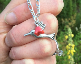 Hummingbird and Coral Bell Flower Charm Pendant Necklace