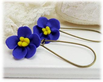 Purple African Violet Dangle Earrings - African Violet Drop Earrings, Purple Flower Earrings, African Violet Flowers