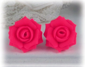 Fluorescent Pink Rose Earrings Stud or Clip On - Fluorescent Pink Jewelry