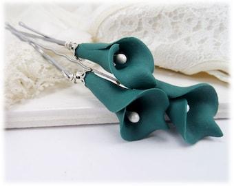 Teal Calla Lily Hair Pins - Teal Calla Lilies, Teal Flower Hair Pins Wedding, Teal Bridal Hair Flowers