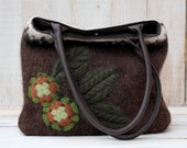 Recycled Sweater Tote in Brown With Granny Square Flower Motif