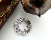 SILVER (2 Pieces) Flower Wreath Connector Stampings - Jewelry Antique Silver Finding (FB-6096) #