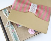 Keepsake Box - Baby Book Add on, Pink or Teal Stripe Burlap Ribbon