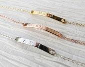 Dainty Delicate Thin Bar Bracelet Rose Gold Silver or Gold Personalized Bar Bracelet Anniversary Bracelet